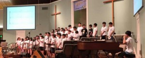 """Korean children practice songs for the musical, """"Back to the Cross,"""" at FBC Ponchatoula. Courtesy photo."""
