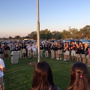 Students at Berwick High School prayed around their flagpole earlier this morning.