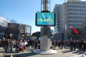 The big screen TV in Galvez Plaza in downtown Baton Rouge announced where thousands of pro-life marchers gathered on Jan. 23, for the 6th annual Life March. The clear blue sky belied near-freezing temperatures and a bitter wind.  Photo by Mark H Hunter
