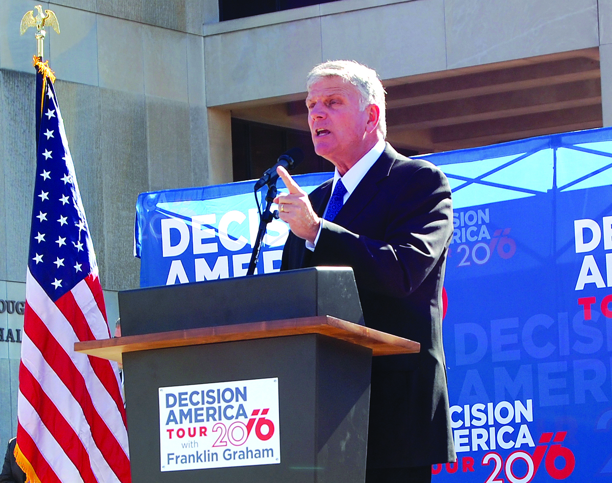 """Franklin Graham called 3,000 to 4,000 people attending a """"Decision America Tour"""" rally in Baton Rouge to """"fervently pray"""" for America, on Jan. 13. photo by mark h hunter"""
