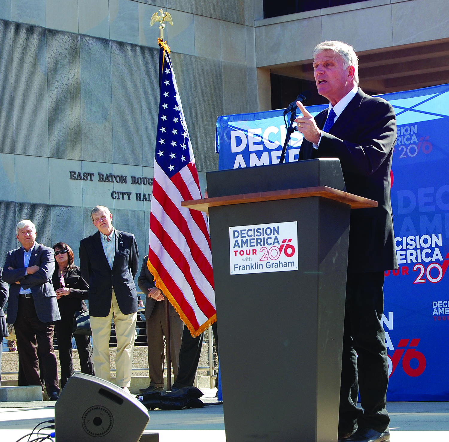 """Franklin Graham called 3,000 to 4,000 people attending a """"Decision America Tour"""" rally in Baton Rouge to """"fervently pray"""" for America, on Jan. 13. Photo by Mark H. Hunter"""