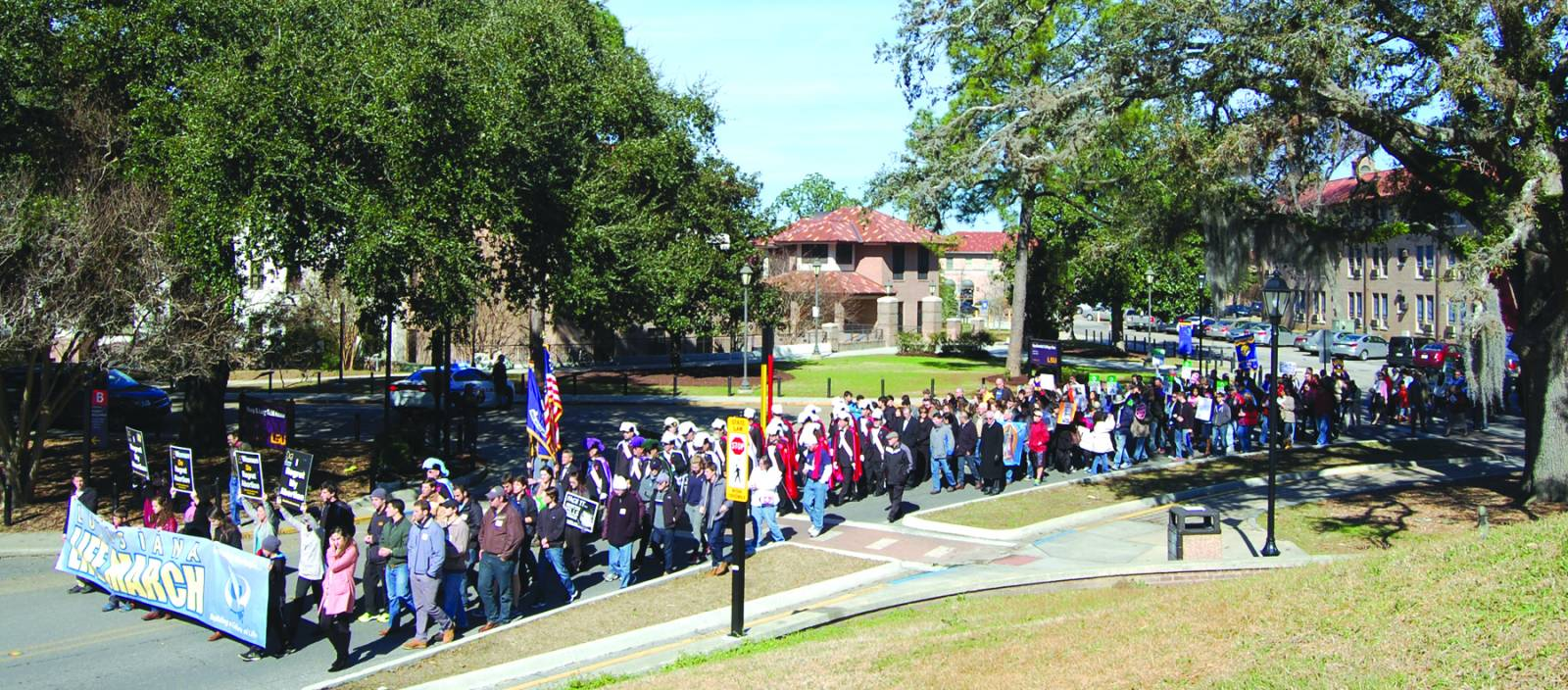 Several thousand pro-life supporters marched across the LSU campus for the 2015 Louisiana Life March. Gov. Bobby Jindal encouraged more than 3,500 people, who gathered at the LSU Greek Amphitheater, to keep fighting for the rights of the unborn.