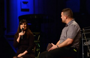 Naghmeh Abedini, whose husband Saaed is imprisoned in Iran, is interviewed by Nathan Lorick, evangelism director for the Southern Baptists of Texas Convention, during the SBTC's evangelism conference in February 2015. Photo by Allen Sutton/SBTC
