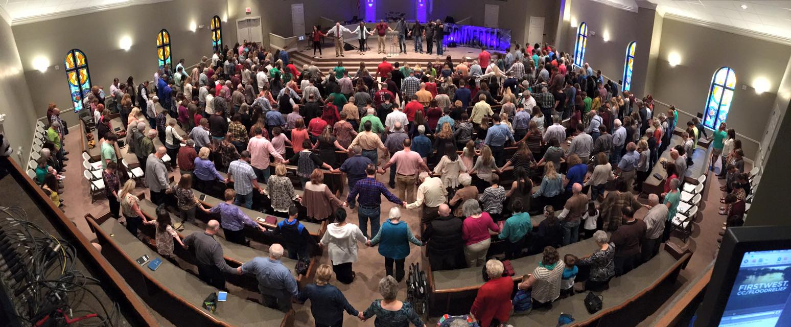 This photo shows the community of Sterlington attending a combined worship service at First Baptist Church Sterlington.
