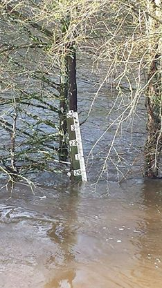 The gauge at the Sabine River shows how high the river has risen since Thursday. It is expected to rise even more as more water is released from Toledo Bend Reservoir.