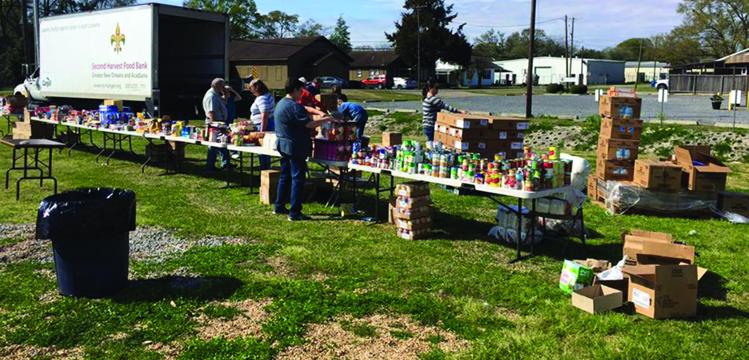 First Baptist Church Jennings distributed more than 11,000 pounds of food in less than an hour for people in a community in the Carey Association.