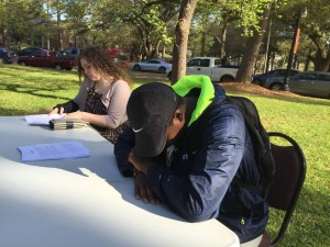 """Students pray during at Louisiana College on March 23, 2016. The event, """"The Road Through Gethsemane Prayer Journey"""" was sponsored by the LC Baptist Collegiate Ministry. Brian Blackwell photo"""