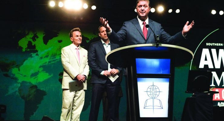 Steve Gaines, pastor of Bellevue Baptist Church in Cordova, Tenn., agrees to be president of the Southern Baptist Convention after initially offering to drop out after a controversy regarding the runoff vote. Gaines received more votes than the other candidate J.D. Greear, pastor of Summit Church in Durham, N.C., 49.96 percent to 47.80 percent. But he was not named the winner because of a parliamentarian ruling which included 108 illegal ballots in calculating the percentages, keeping him from having a majority (more than 50 percent) of the ballots cast in the second round of voting. Greear ultimately conceded and moved that Gaines be elected by acclamation on the third vote during the 2016 SBC Annual Meeting, June 15 in St. Louis. Photo by Bill Bangham