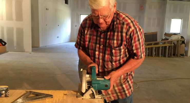 Jimmy Noblit, a member of Calvary Baptist Church in Alexandria, has worked on the Georgia Barnette Conference Center four days most weeks since July. He contends the effort is a labor of love and needed for future generations to learn about missions. Brian Blackwell photo