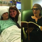 (Left) Rose Long, wife of State Sen. Gerald Long, poses with Pam Long Jordan, one of her daughters, following her surgery to remove a brain tumor.  (right)Days after her surgery Mrs. Rose was able to sit up and read her devotional Jesus Calling.