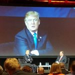 Former Arkansas Gov. Mike Huckabee interviews Republican Presidential hopeful Donald Trump during a gathering of more than 1,000 social conservatives in New York City on June 21, 2016. Photo courtesy of Mike Johnson