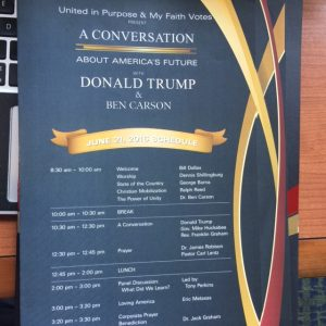 This screenshot shows the schedule during Donald Trump's meeting with more than 1,000 social conservatives on June 21, 2016. Photo courtesy of Gevan Spinney