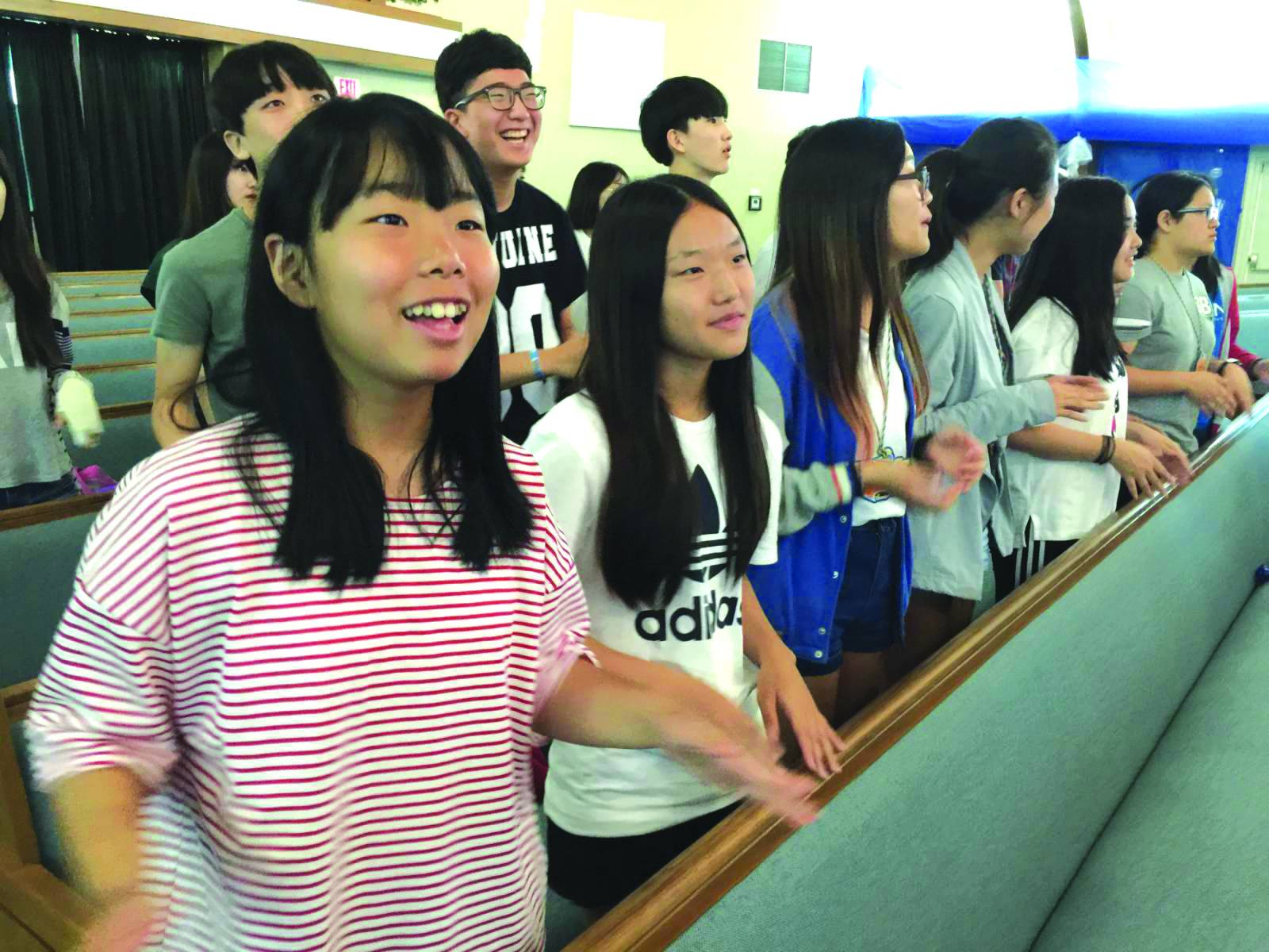 Camp USA participants enjoy a time of worship during Vacation Bible School at Alpine First Baptist Church. The students from South Korea spent a week in central Louisiana before finishing their trip in Ponchatoula.