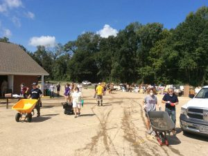 Clean up at Amite Baptist Church in Denham Springs is a common scene throughout south Louisiana.