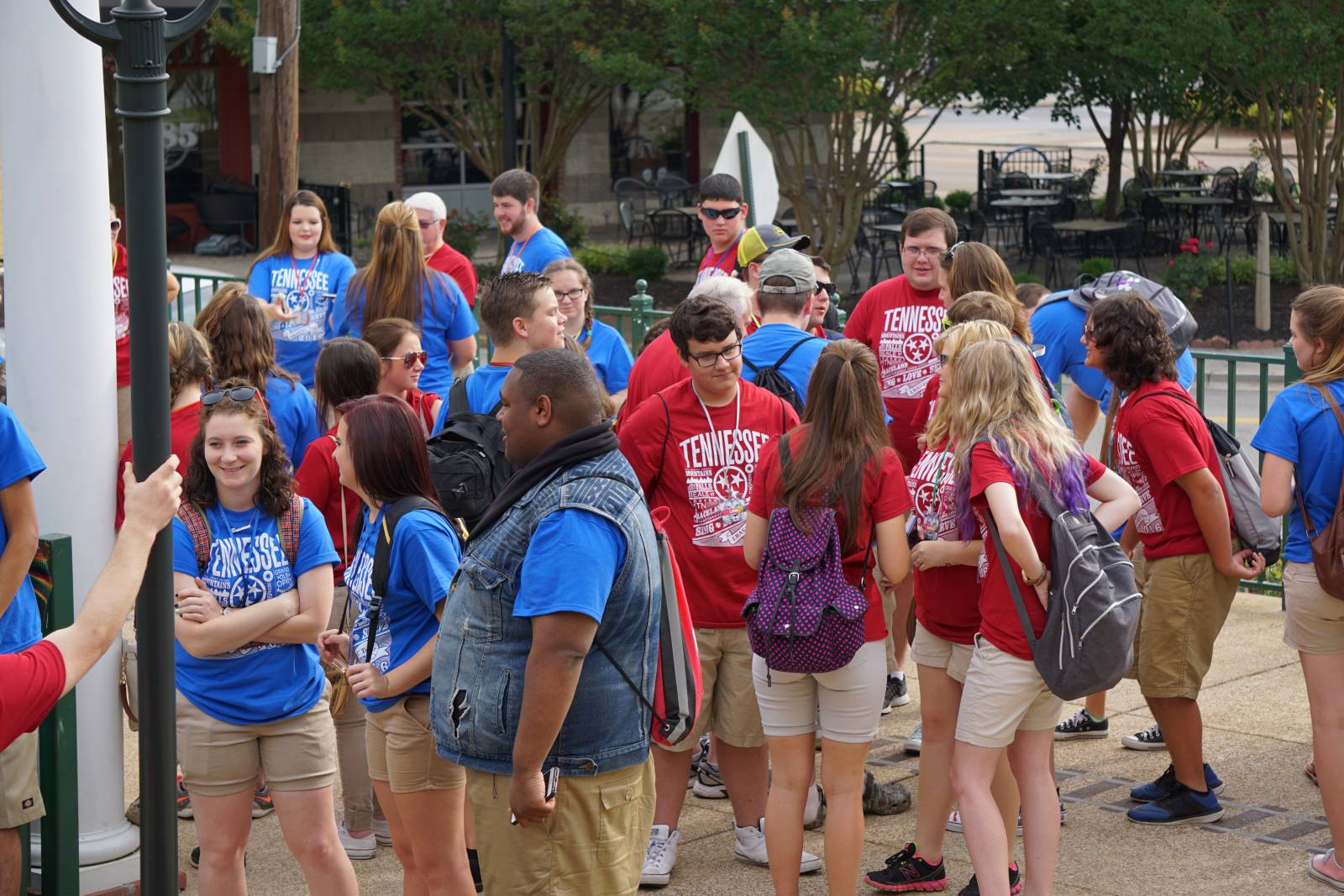 Members of the youth choir prepare to sing during the tour of Tennessee.