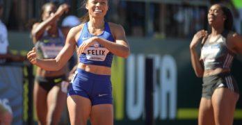 OLYMPICS: Runner Allyson Felix tells reporters, 'Faith leads my life'