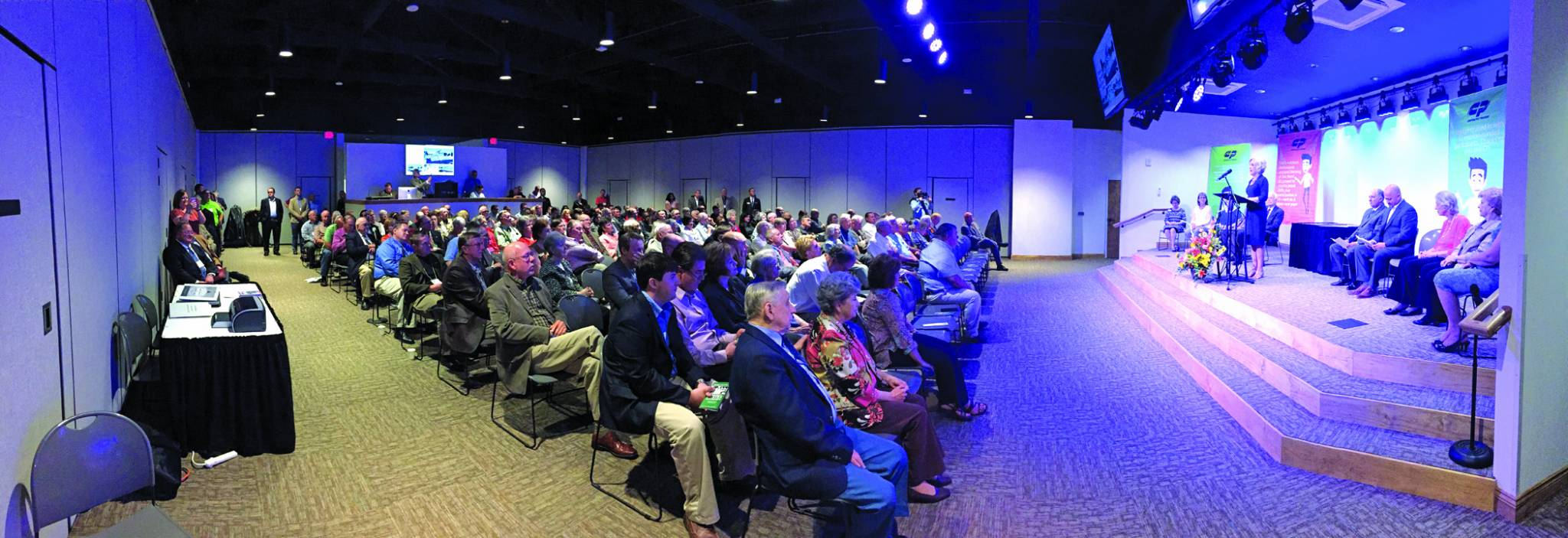 A standing room only crowd fills the auditorium of the Georgia Barnette Conference Center during its dedication ceremony Sept. 27, 2016. Brian Blackwell photo