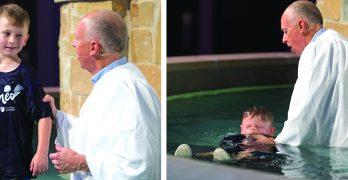 Wave of baptisms bathe new facility at FBC Covington
