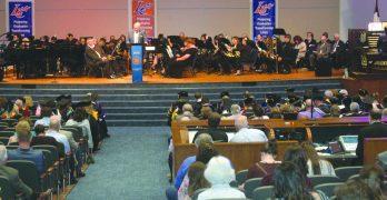 LC's Rick Brewer celebrates Guinn Auditorium reopening