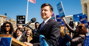Mike Johnson speaks before a pro-life rally in front of the U.S. Supreme Court while arguments are being heard about Louisiana Act 620 which protects women who face complications from an abortion.