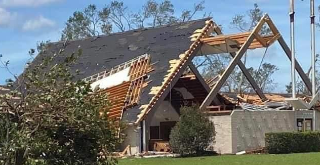 A section of the roof of the main building on the Emmanuel Baptist Church, Lake Charles, was ripped off by high winds.